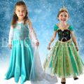 <Elsa Reine des neiges disney costume enfant cosplay> ROBE DUO ENFANT PRINCESSE ELSA