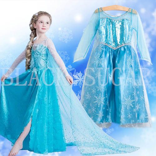 <disney Elsa Reine des neiges costume cosplay> DUO ROBE ENFANT PRINCESSE ELSA
